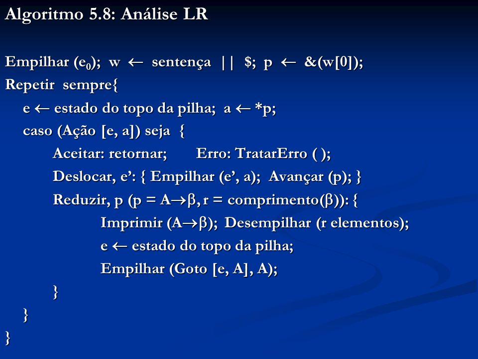 Algoritmo 5.8: Análise LR Empilhar (e0); w  sentença || $; p  &(w[0]); Repetir sempre{ e  estado do topo da pilha; a  *p;